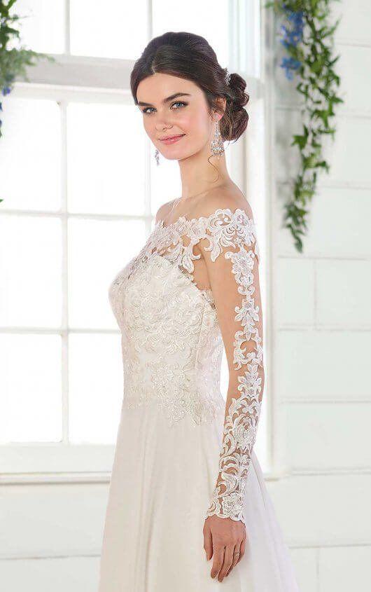 812b1fbb64ab D2569 Simple Wedding Dress with Off-the-Shoulder Neckline by Essense of  Australia
