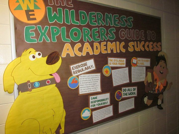 An Up-themed board on academic success.