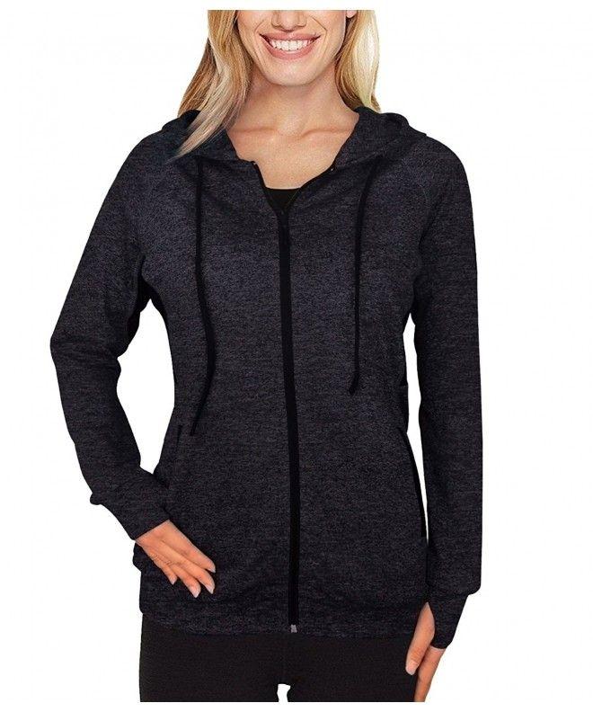 Blush Womens Full Zip Hoodie Jacket Lightweight Long Sleeve Hooded Zip Up Pullover Sweatshirts Sports Workout
