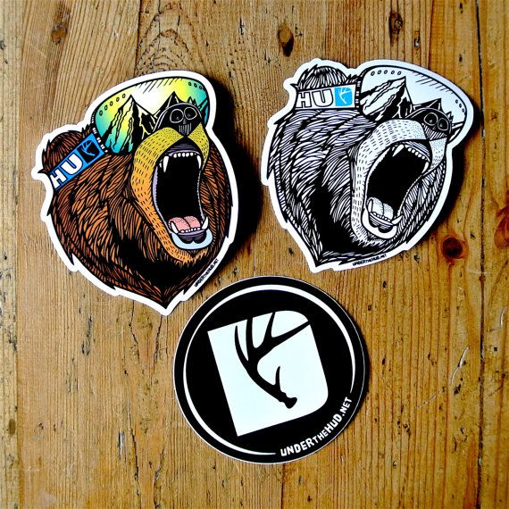 Bear Goggles roaring Grizzly vinyl sticker.  This vinyl art sticker was created from an original hand drawn illustration. It is 100% waterproof and