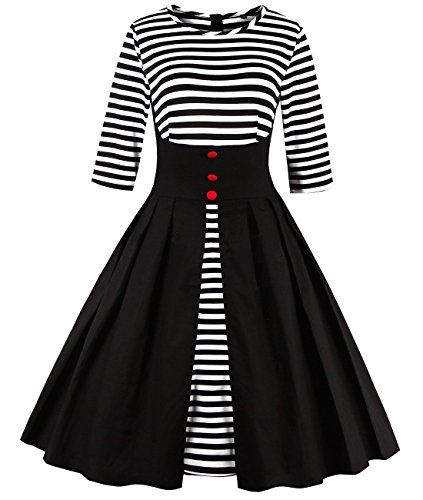 Tempt Me Womens Plus Size Vintage 1950s Pleated Black and White Stripe A Line Swing Cocktail Dress Black Large *** Visit the image link more details.