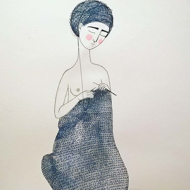 She's cocoonig, she unwinds...#illustration #watercolor #yarn #knitting #cocooning #alexandraradu #alradu