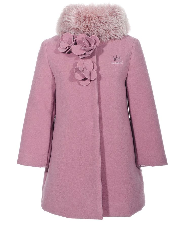 Marasil velour coat detachable faux fur collar + flower decoration. Available also in cream and grey