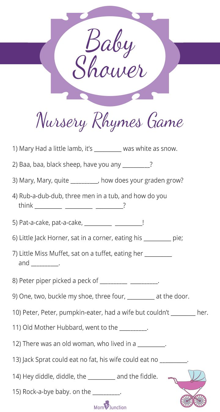 30 Fun And Festive Baby Shower Games You Would Enjoy. Baby Shower Printable Nursery  Rhyme ...