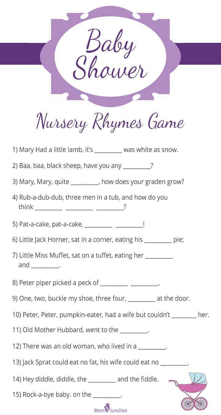 Baby Shower Printable Nursery Rhyme Quiz Game