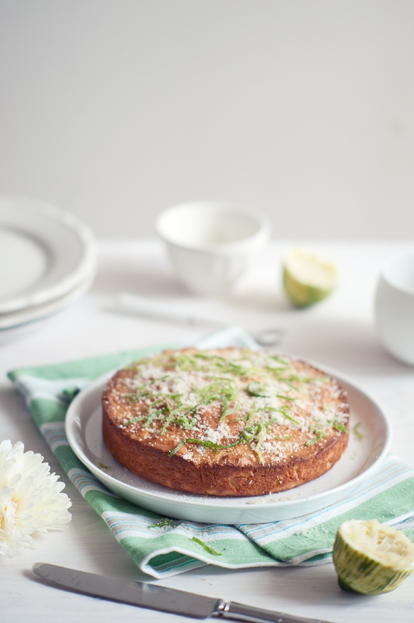I adore his food photography and recipes.  This one is lime, yoghurt and olive oil cake.