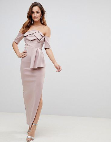 60a9a432ccb341 Scuba Bardot Folded Bow Front Maxi Dress by Asos. Maxi dress by ASOS  Collection, For that thing you have to go to, Bardot neck, Brigitte knows  best, ...