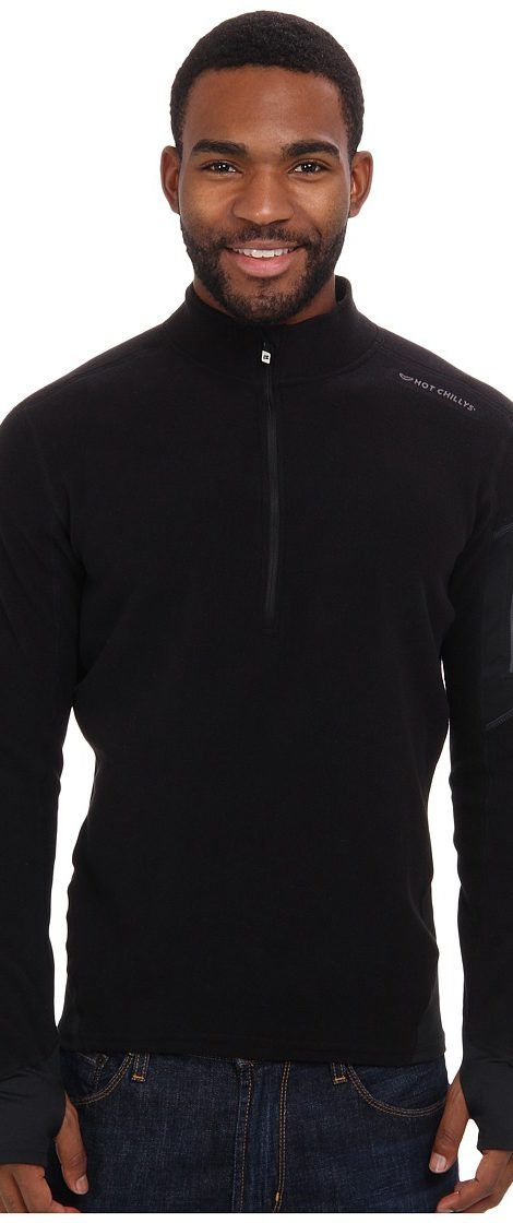 Hot Chillys La Montana Zip-T (Black/Black) Men's Long Sleeve Pullover - Hot Chillys, La Montana Zip-T, HC4033, Apparel Top Long Sleeve Pullover, Long Sleeve Pullover, Top, Apparel, Clothes Clothing, Gift - Outfit Ideas And Street Style 2017