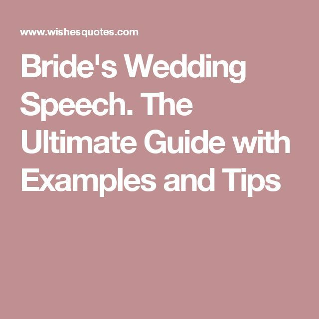 Quotes About Wedding : Bride\'s Wedding Speech. The Ultimate Guide ...