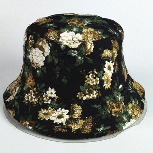 Chic Dark Color Blooming Flowers Pattern Women's Black Bucket Hat #shoes, #jewelry, #women, #men, #hats