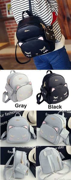 Fashion PU Cute Cat Printing Leisure Kitty Cartoon Kitten School Backpacks for big sale ! #cartoon #kitten #school #backpack #bag #cute #cat