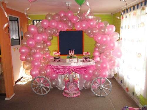 Decoracion globos carroza princesas cumpleanos princess for Decoracion de cumpleanos