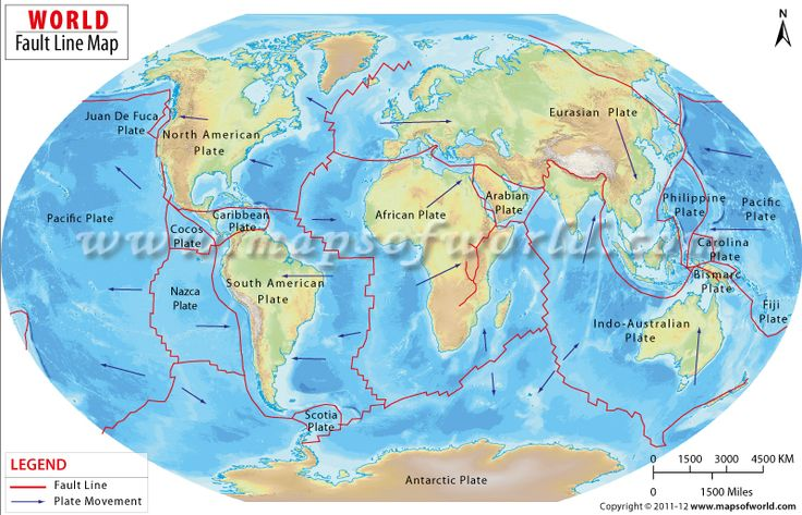 World Map showing the tectonic plates of the earth representing by Faults lines.
