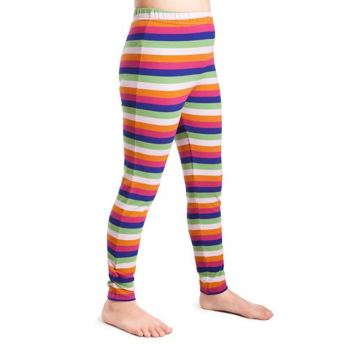 Colourful lilac/ pink multistripe leggings to spice up your outfit. Button decoration by the ankle.