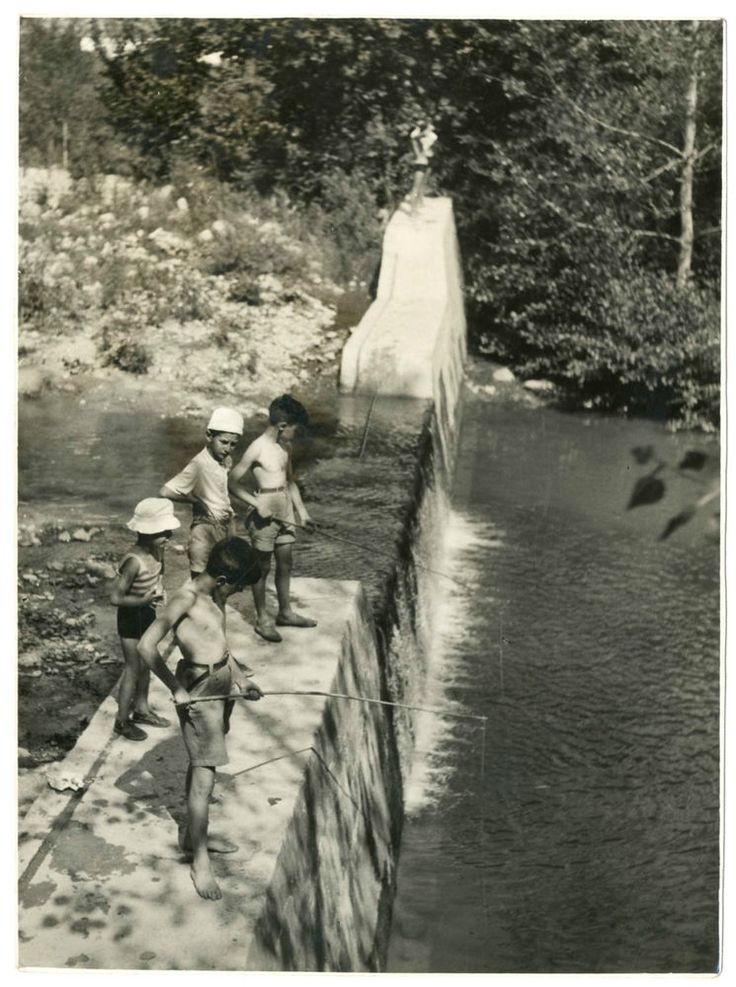 PORRETTA TERME.BIMBI PESCATORI Foto d Epoca Photo Vintage 1940 Paesaggio F252