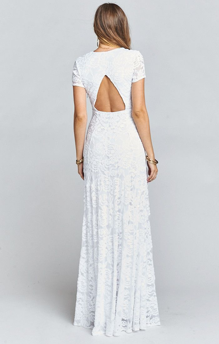 db6b35b99f2 ... Dress ~ Lovers Lace White. No one will be able to ignore you in the Eleanor  Maxi. Form fitting and elegant with a cut out in the back