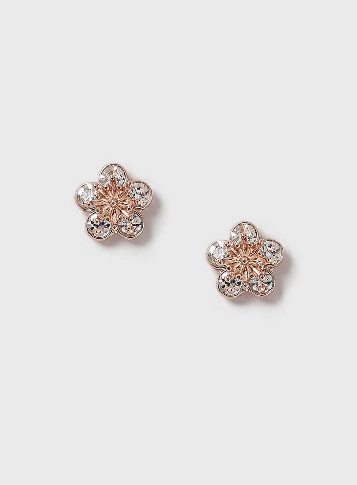 Womens Rhinestone Flower Stud Earrings- Clear