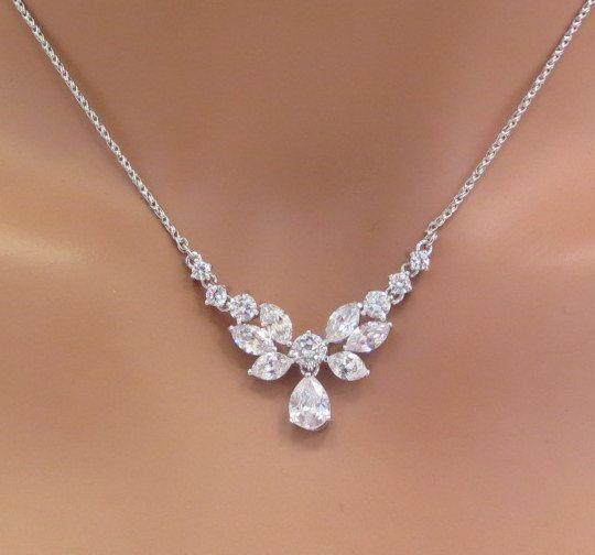 Simple bridal necklace Bridal Rhinestone necklace Dainty Crystal necklace Bridal jewelry Cubic zirconia necklace Bridesmaid necklace