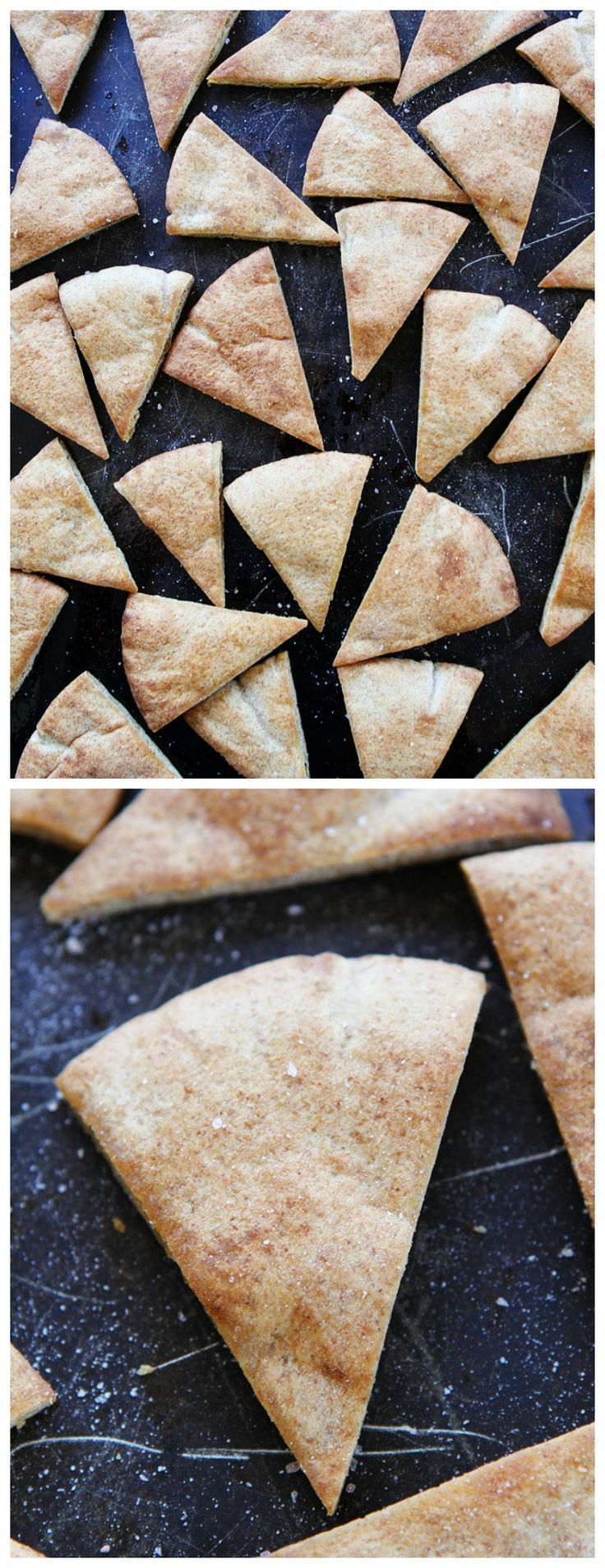 Homemade Pita Chip Recipe on http://twopeasandtheirpod.com. These pita chips are easy to make at home and much better than store bought! You only need 3 ingredients!