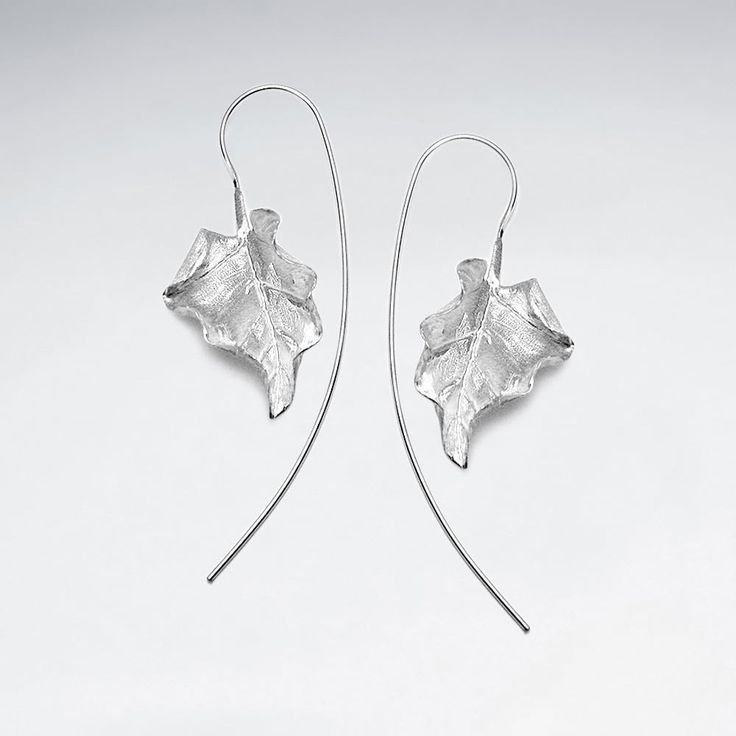 Silver Autumn Leaf Drop Earrings: Woodland Collection
