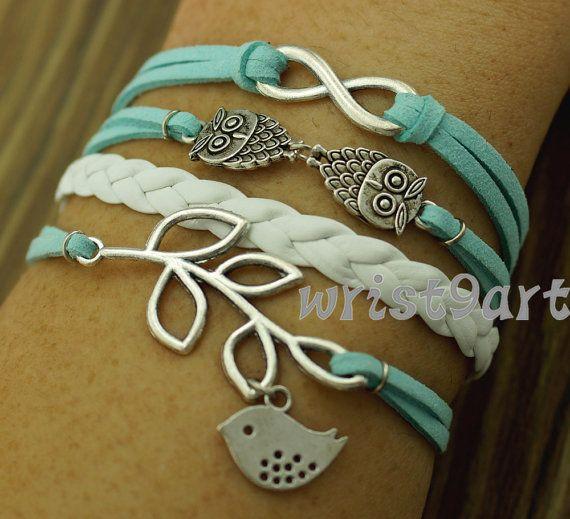 Infinity bracelet - two owls bracelet,bird leaf bracelet,antique silver,mint bracelet for girls,vintage style