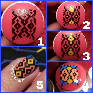 1. Allow design to dry on rubber stamper  2. Using a toothpick and your choice of colored polish, start filling in the empty spaces. 4. Once you have completely filled in the image, apply your favorite topcoat over it. Make sure you go a little off the edges so that you can pick it up off the stamper.  5. After the topcoat is completely dry (I waited 20 minutes just to be sure), carefully pick up your image with tweezers and place it over your nail.