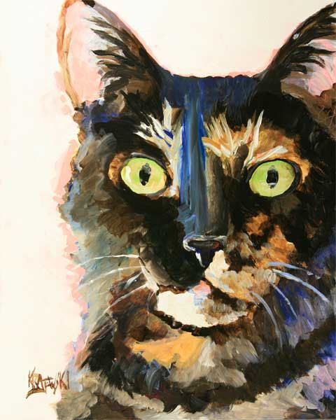 Tortie Cat Art Print of Original Acrylic Painting  by dogartstudio, $12.50