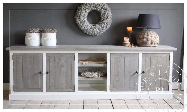 Maatwerk! Landelijk tv meubel ~Basic~ old weathered / riviera white | 》Landelijk tv meubel / flatscreenmeubel / flatscreenkast | Puur & Land...