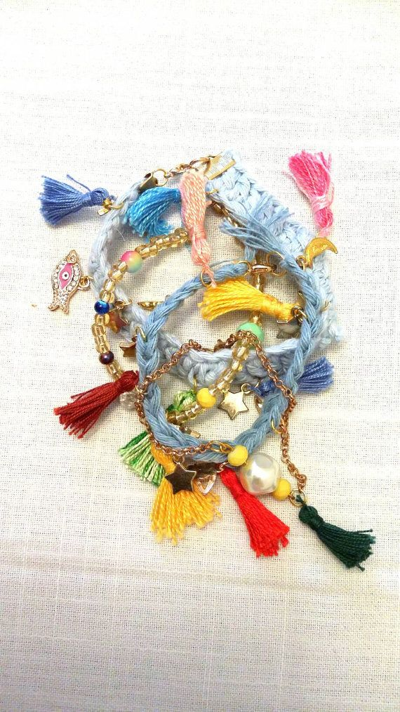 Summer Charm Bracelets with tassels / set of by KaterinakiJewelry