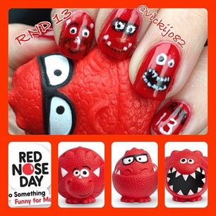 OH EM GEE RED NOSE DAY NAILS AHH THESE ARE FREAKIN AWESOME I HAVE NOT IDEA WHAT BOARD TO PUT THIS IN.