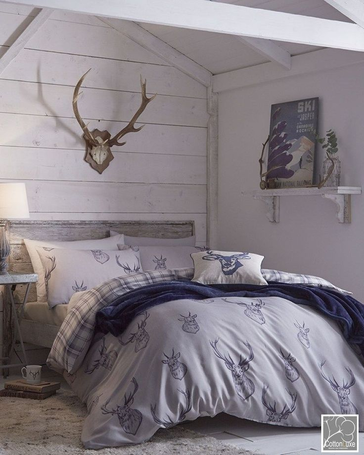 Rustic Chic bedding for my Teen Son who's redoing his room.... Catherine Lansfield Stag Deer Blue Reversible Duvet Quilt Cover Bedding Set  #CatherineLansfield #Contemporary
