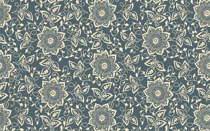 Download wallpapers retro texture, flower seamless pattern, floral background, flowers