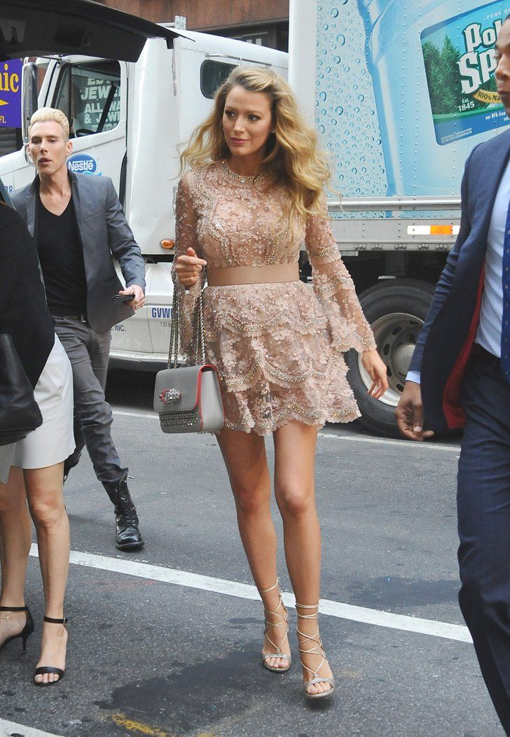 Pin for Later: Blake Lively's Maternity Style Is Straight-Up Glamour  She dressed the bump in sparkly Elie Saab mini while out in NYC in June.