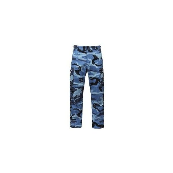 Sky Blue Camouflage BDU Pants ($28) ❤ liked on Polyvore featuring pants, sky blue pants, camo cargo pants, camo pants, pocket pants and blue camouflage pants
