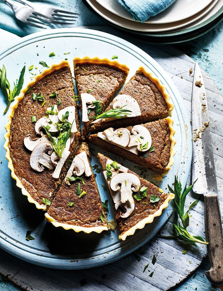Bruno Loubet's velvety mushroom tart recipe is so rich that you'll only need a small slice per person. Serve with dressed leaves; the pepperiness of watercress contrasts well