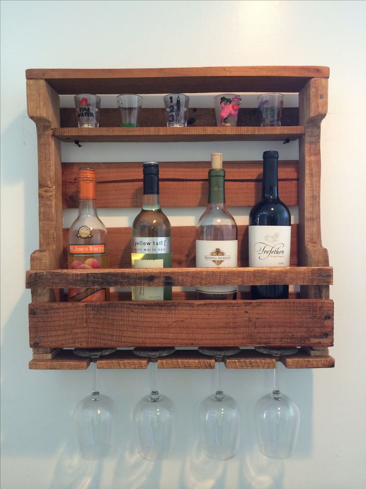 Check out THIS BAD BOY! He's handmade with love from pallet wood. He works as a wine rack, & a shot glass holder.   Power tools + pallet wood = art :D #diy #handmade #love
