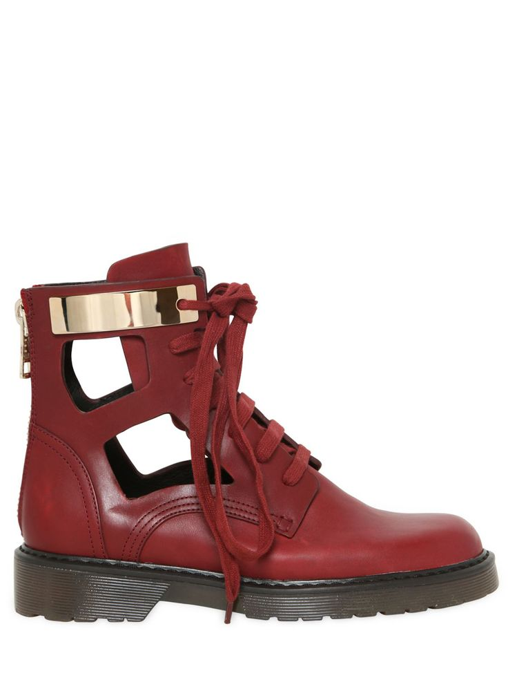SEE BY CHLOÉ - 30MM CUTOUT LEATHER ANKLE BOOTS - LUISAVIAROMA
