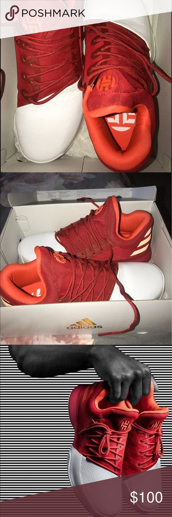 James Harden 1.0 basketball shoes Brand New retail for $120 Given by James himself after I won a hoop competition  I wore them that day but I probably won't again. I'm a 8.5 in women's adidas Shoes Athletic Shoes
