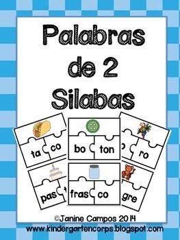 Spanish Puzzle for 2 Syllable Words (Rompecabezas para Palabras de dos silabas) 44 palabras en total