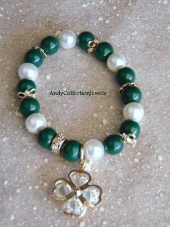 Green & White Women Bracelet with Glass & Mother of Pearls stones, Crystal Cloverleaf charm
