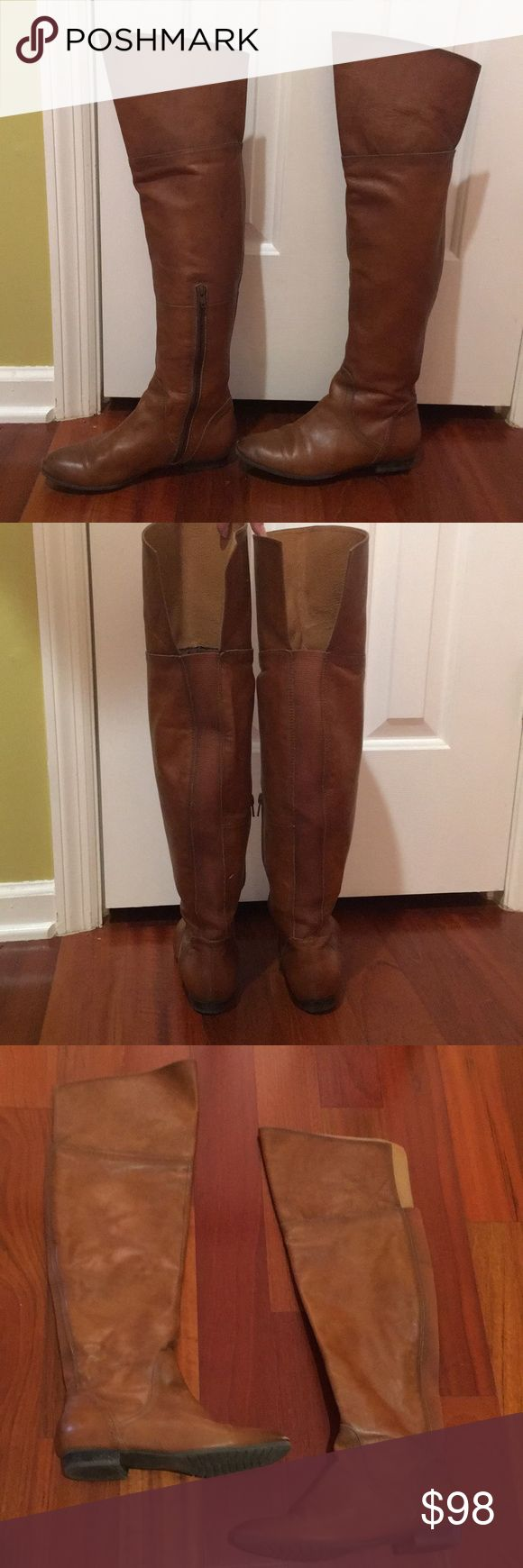 Aldo Leather Over the knee Boots size 6.5 Aldo leather camel color over the knee boots size 6.5. EUC no flaws worn once. Still look brand new. Stretch elastic to the back of boots for a perfect fit, and side zip closure. MRSP 180$. These beauties are still available in stores. Offers will be considered. Free gift with purchase. Aldo Shoes Over the Knee Boots