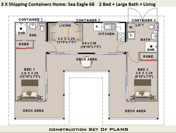 3 x Shipping Containers = 2 Bedroom Home | Full Construction House Plans | Blueprints USA feet & Inches – Australian Metric Sizes