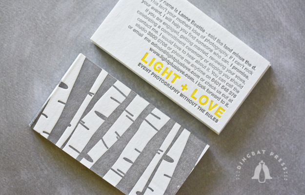 LOVE these business cards for Light + Love Photography by Dingbat Press.  including an artist/personal statement on your business card is a great way to introduce others to your business and vision.