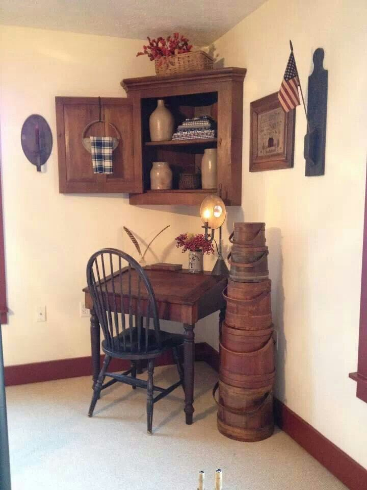 FARMHOUSE – INTERIOR – early american decor inside this vintage farmhouse.