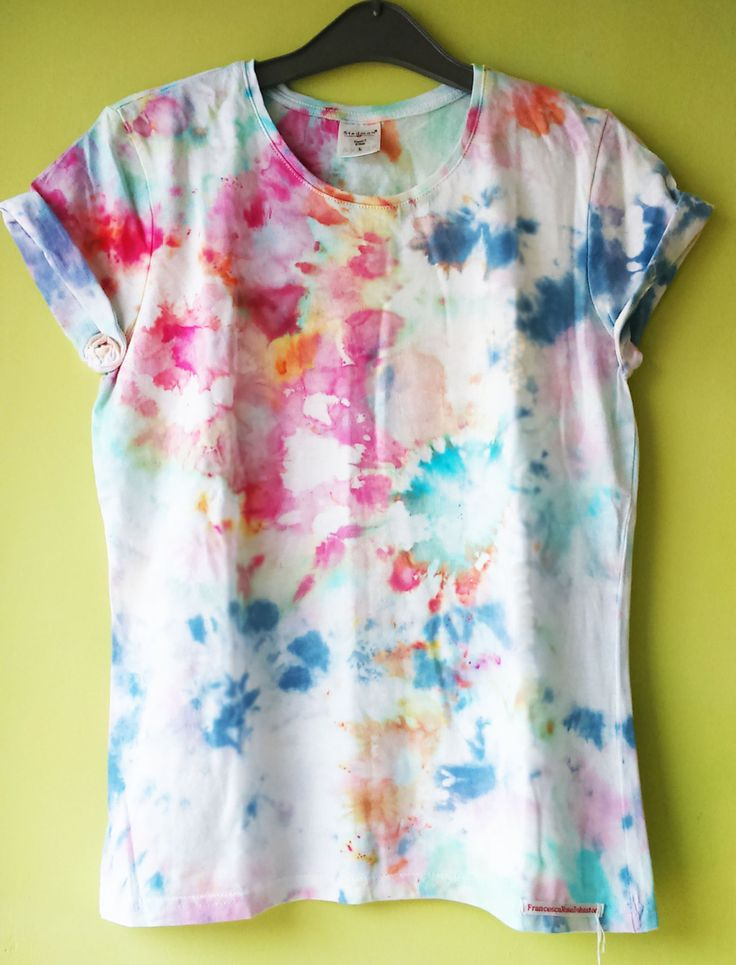 Womens (Large) Multi coloured ice dye T-shirt by FrancescaRoseJ on Etsy
