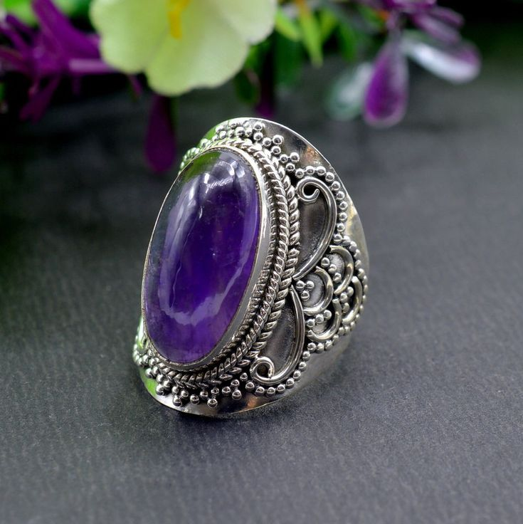 925 Solid Sterling Silver Amethyst Gemstone Handmade Mens Ring Size 7.5 US R508 #Handmade #Cluster #Party
