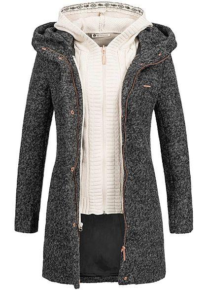 Aiki Damen Winter Mantel Kapuze herausnehmbare Strickweste dunkel grau - Art.-Nr.: 17094473