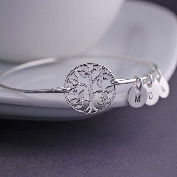 Personalized Tree of Life Bangle Bracelet, Personalized Initials Family Tree Jewelry