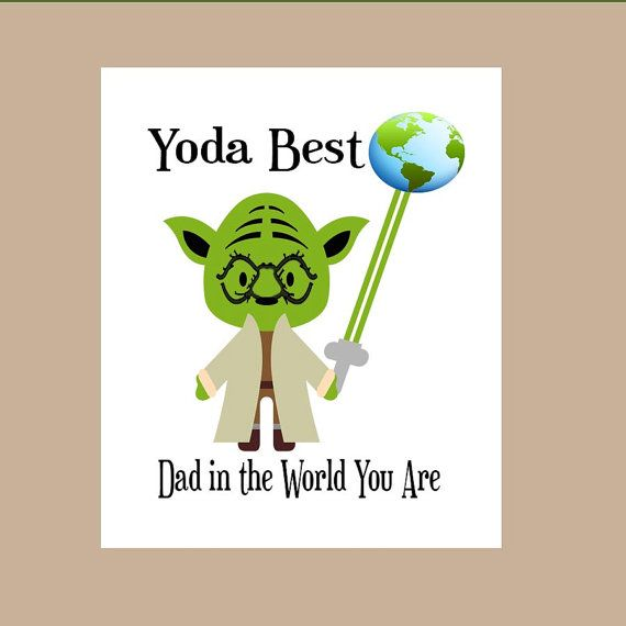 Star Wars Dad Birthday Card Yoda Dad Birthday by DaizyBlueDesigns