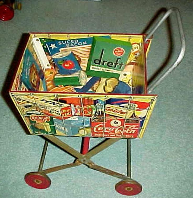 Supermarket cart, circa 1954. Photo courtesy of Richard Mueller Collection.